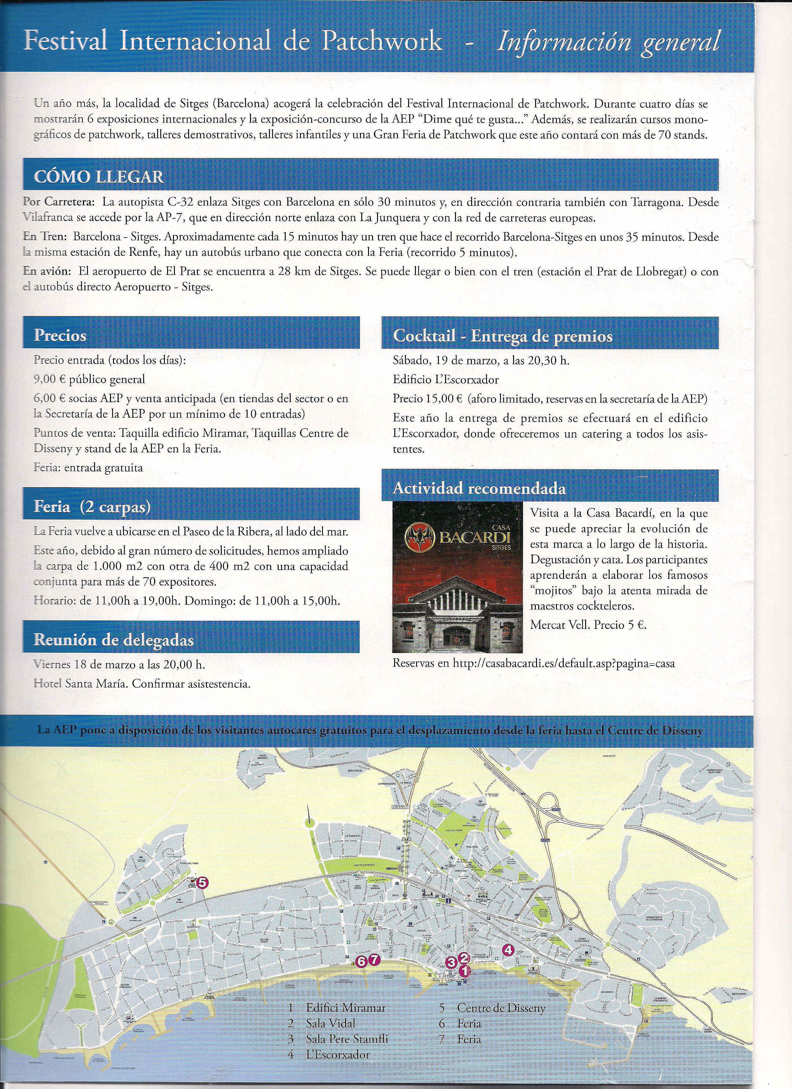 Festival patchwork Sitges 2011 información práctica