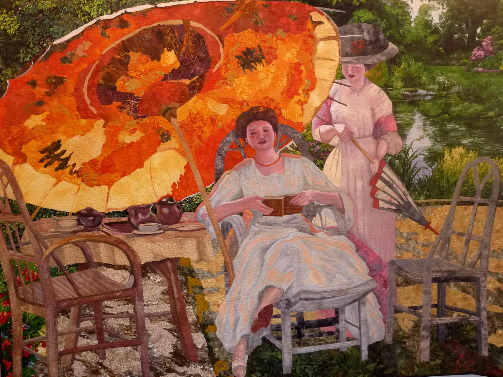 Art quilt de Leonore Crawford inspirado en un cuadro.