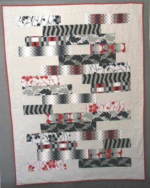 Modern strips quilt en algodón y lino