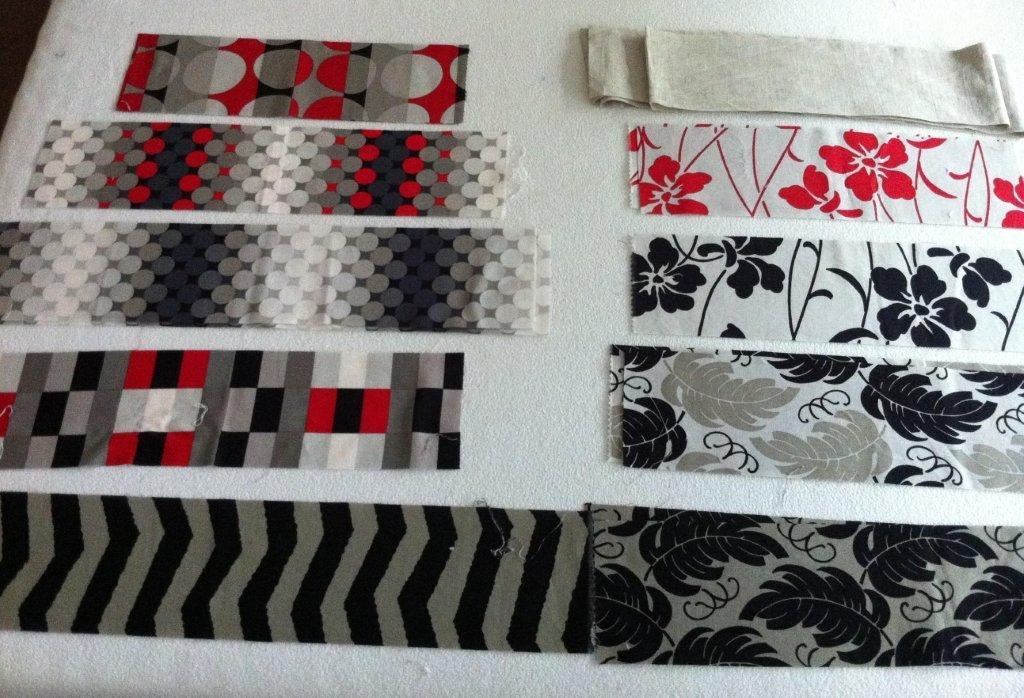 telas modernas para patchwork en gris rojo negro blanco