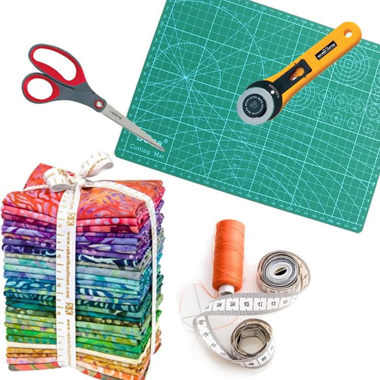 material para patchwork table de cirte cúter hilo cinta métrica telas para patchwork