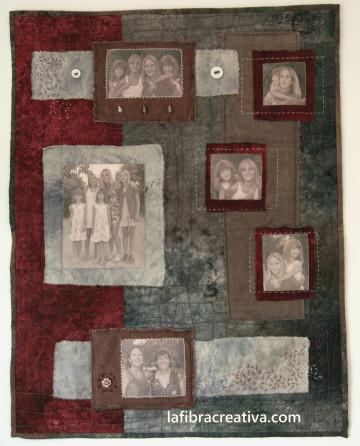 retrato textil con fotos impresas sobre tela