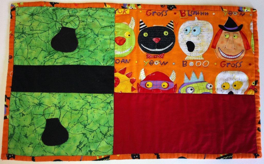 Halloween individual de patchwork, calabazas y brujas