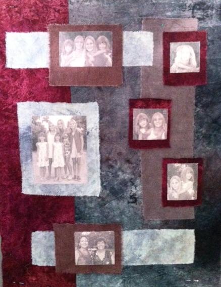 art quilt portraits de cousines photos imrpimées sur tissu
