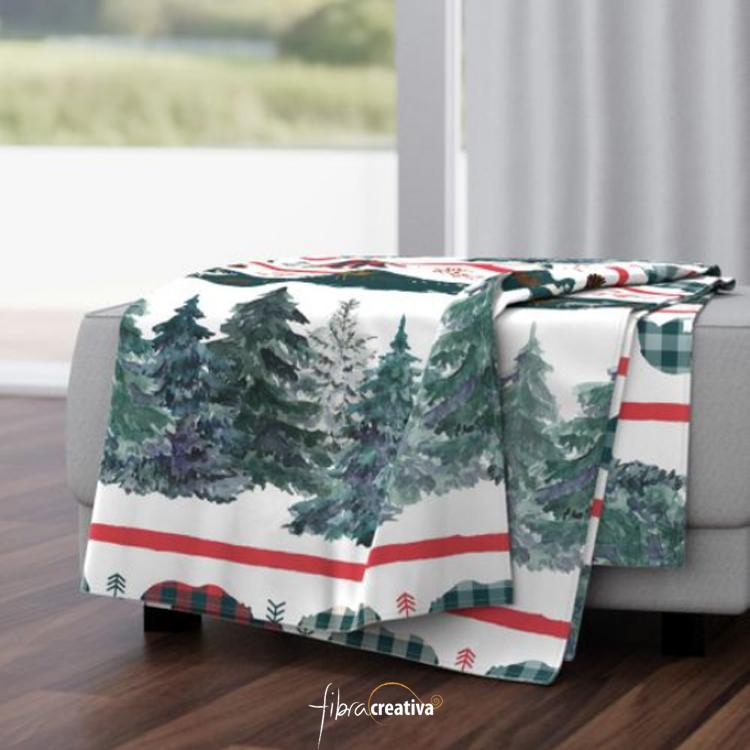 manta polar o minky para regalar en navidad de rayas verde y rojo con osos, renos, plaid de Fibra Creativa