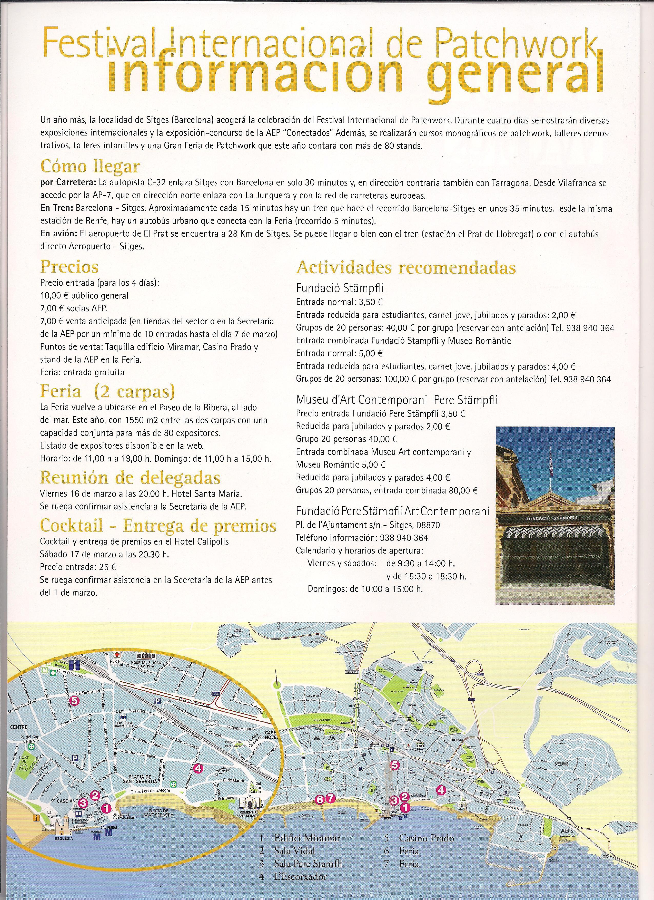 festival patchwork Sitges 2012 información práctica y mapa