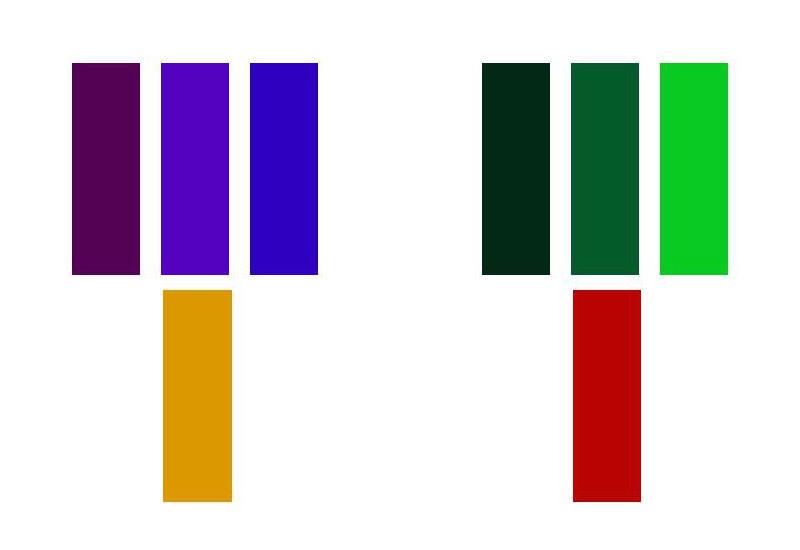 colores complementarios violeta-amarillo verde-rojo