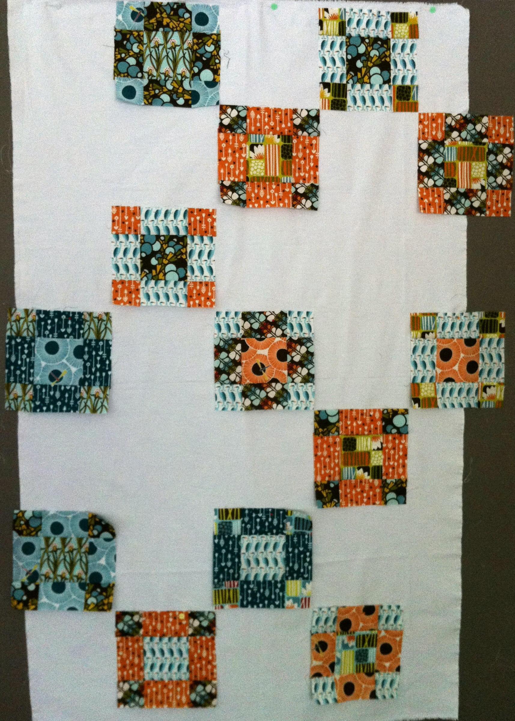 quilt de patchwork 9-patch contemporáneo top en curso