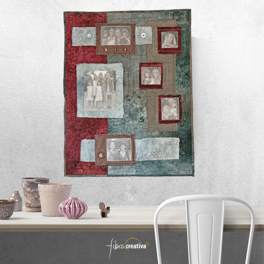 """pequeño quilt con fotos """"primas"""" colgado en la pared Fibra Creativa"""