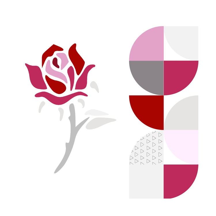 Rose en patchwork application moderne