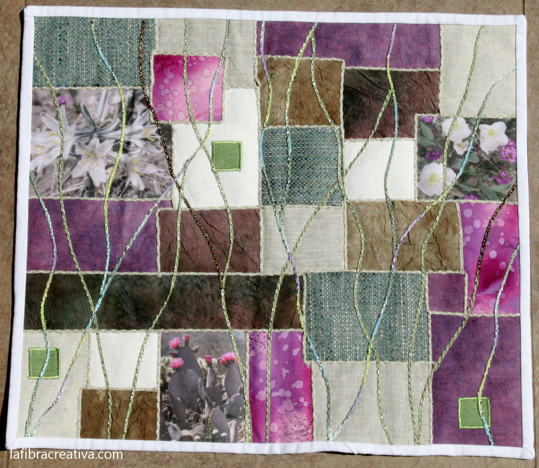 art quilt Anza Borrego desert bloom