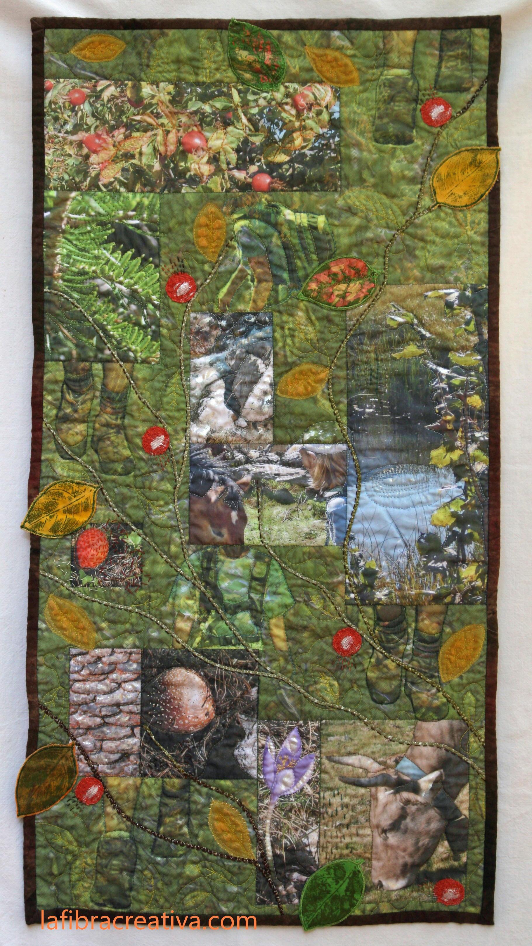 art quilt de France Buyle tela de diseño original impreso