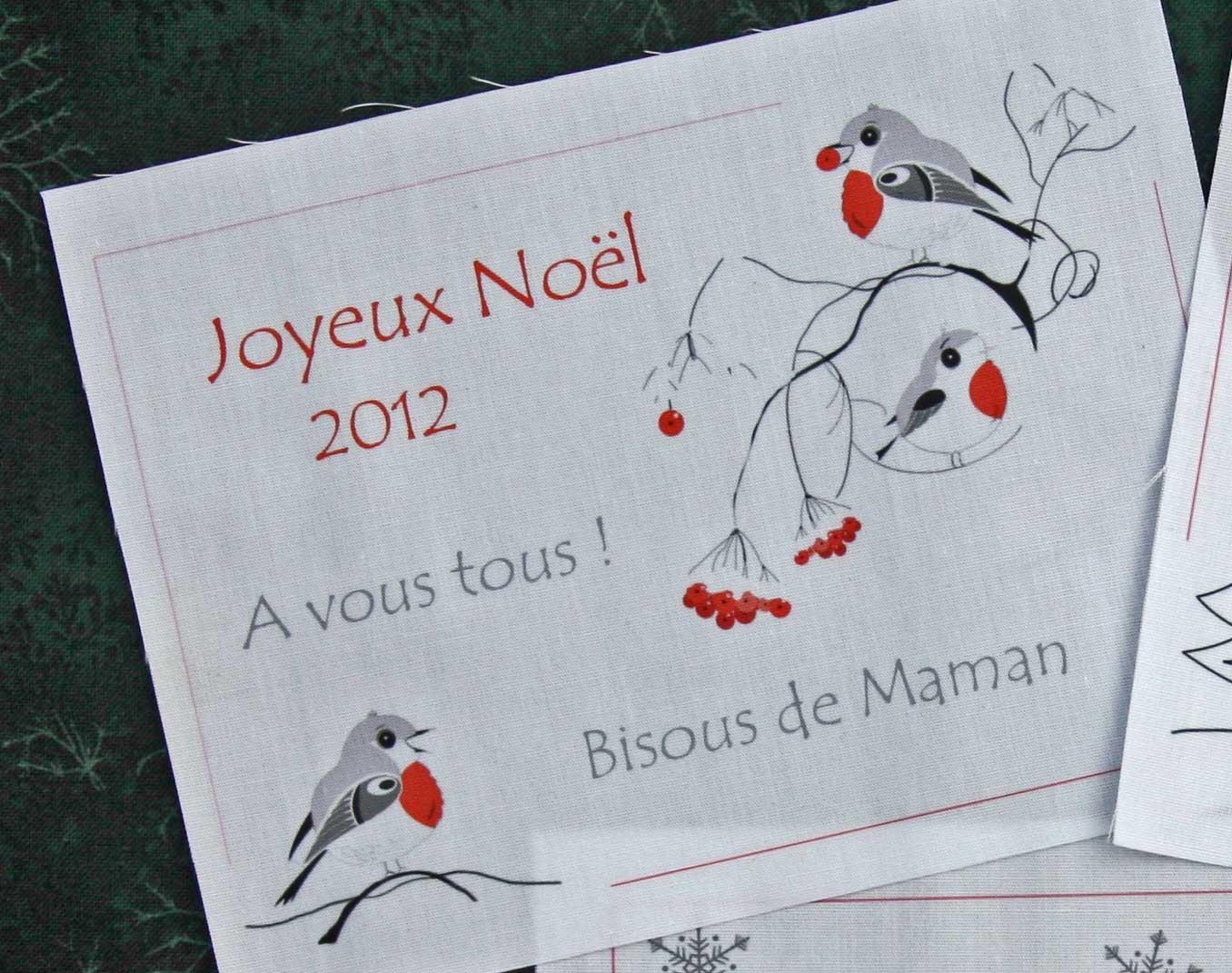 etiquette pour quilt personalisée Noël