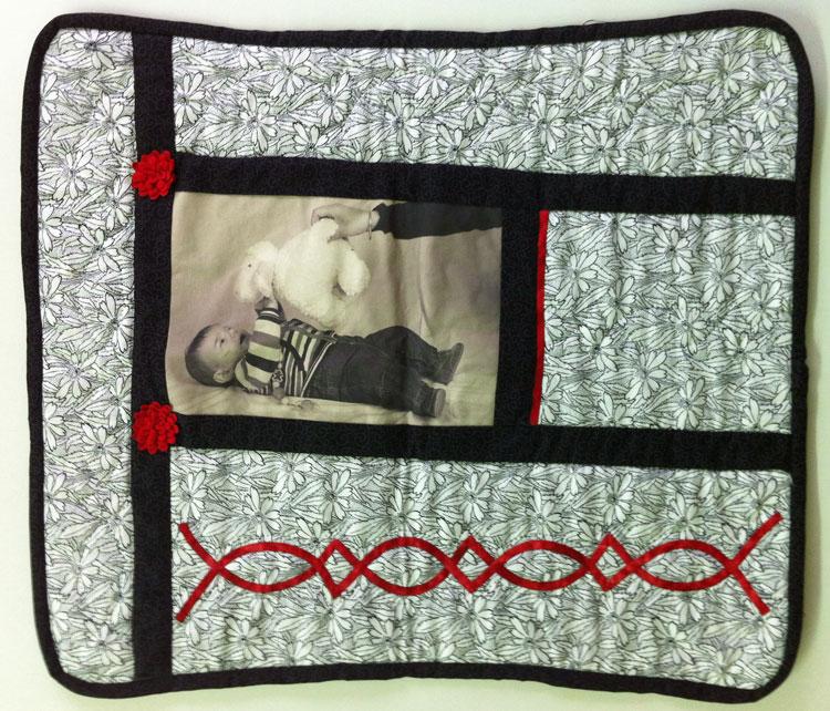 Cojín de patchwork con foto impresa en tela