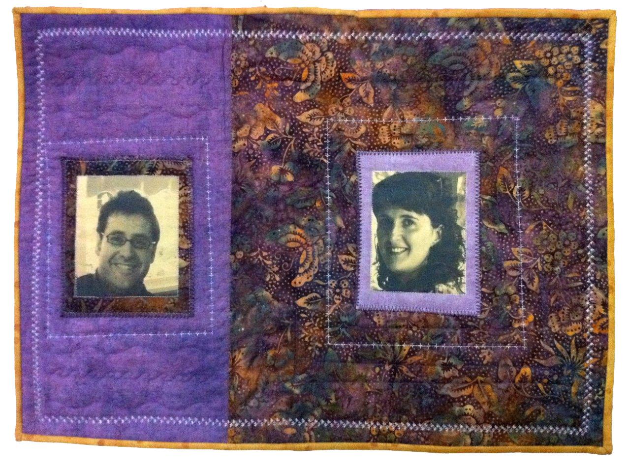 Quilt retrato de batik con fotos impresas sobre tela
