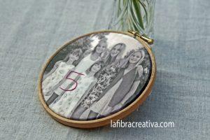 mesero boda con foto bordado