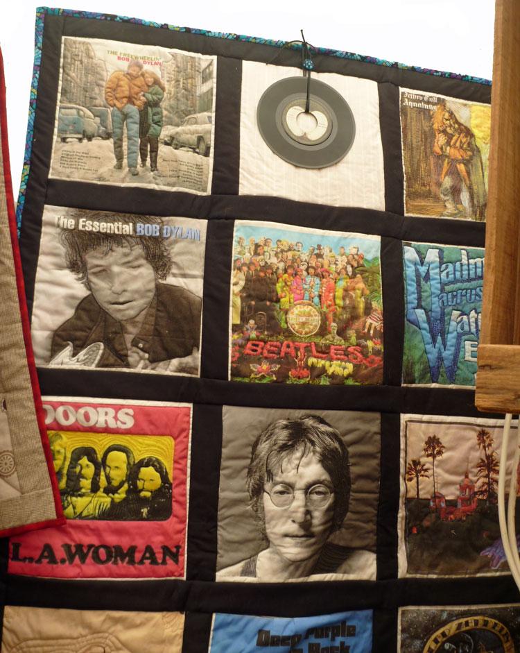 Colcha patchwork con fotos impresas