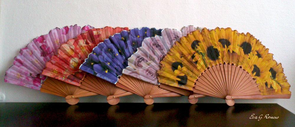 abanicos de seda diseño floral
