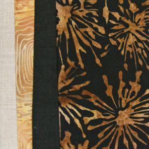 kit de patchwork con batik, lino y fotos