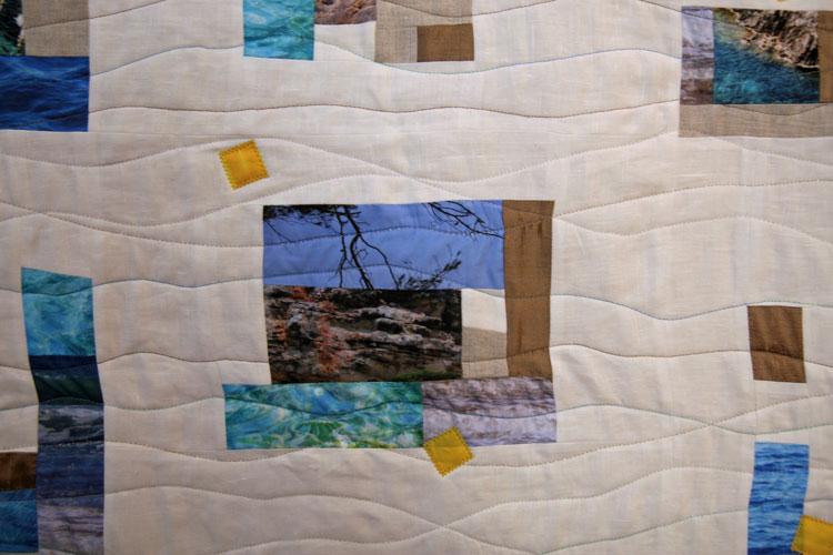 quilt con lino y fotos impresas en tela