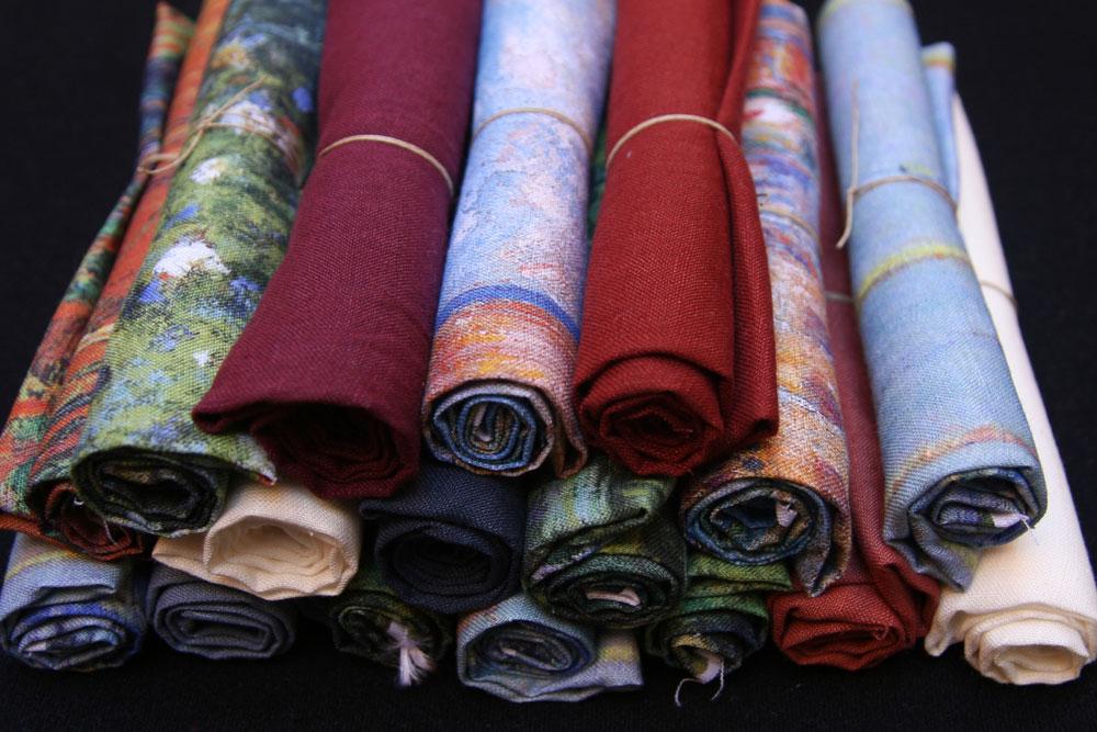 telas lino estampadas y lisas combinadas