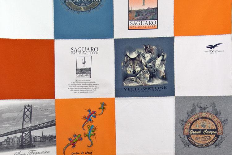 quilt de camisetas recicladas detalle