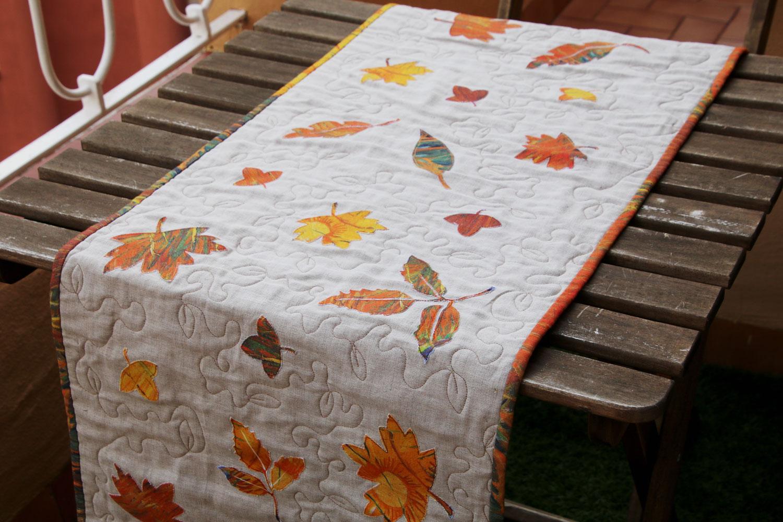 camino de mesa patchwork de otoño