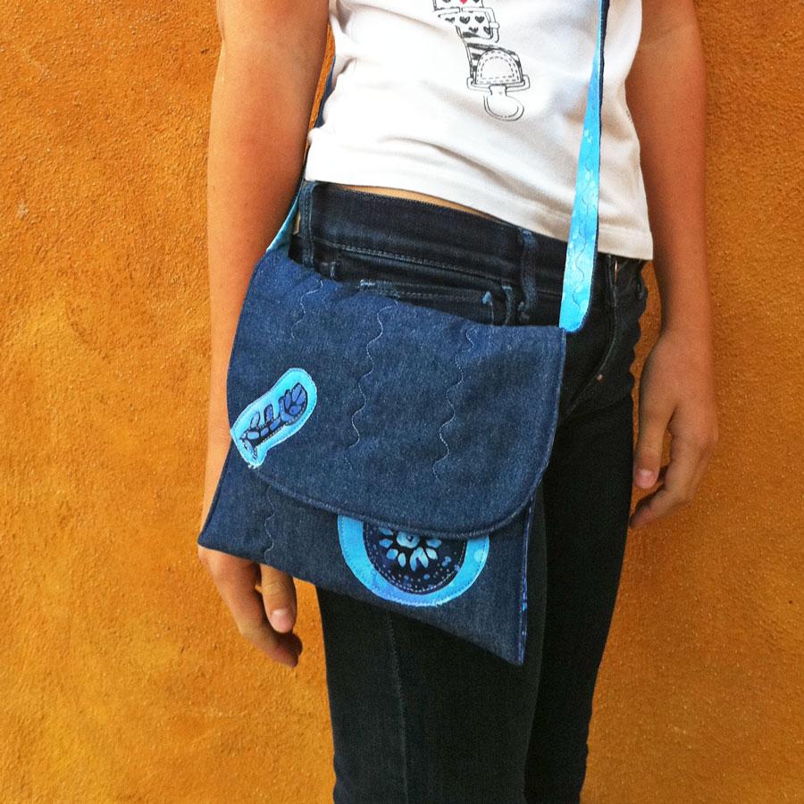 bolso tejano DIY en tela vaquera y batik