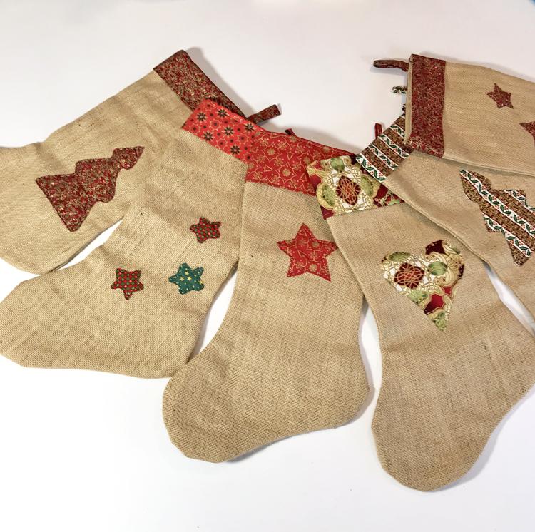 botas de arpillera para Navidad
