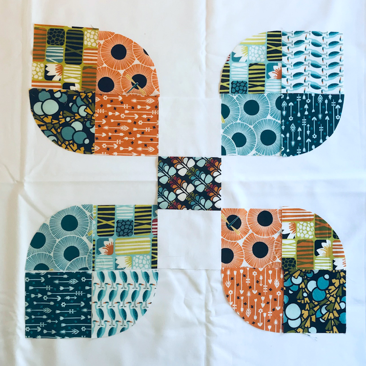 bloque de patchwork cuarto de circulo