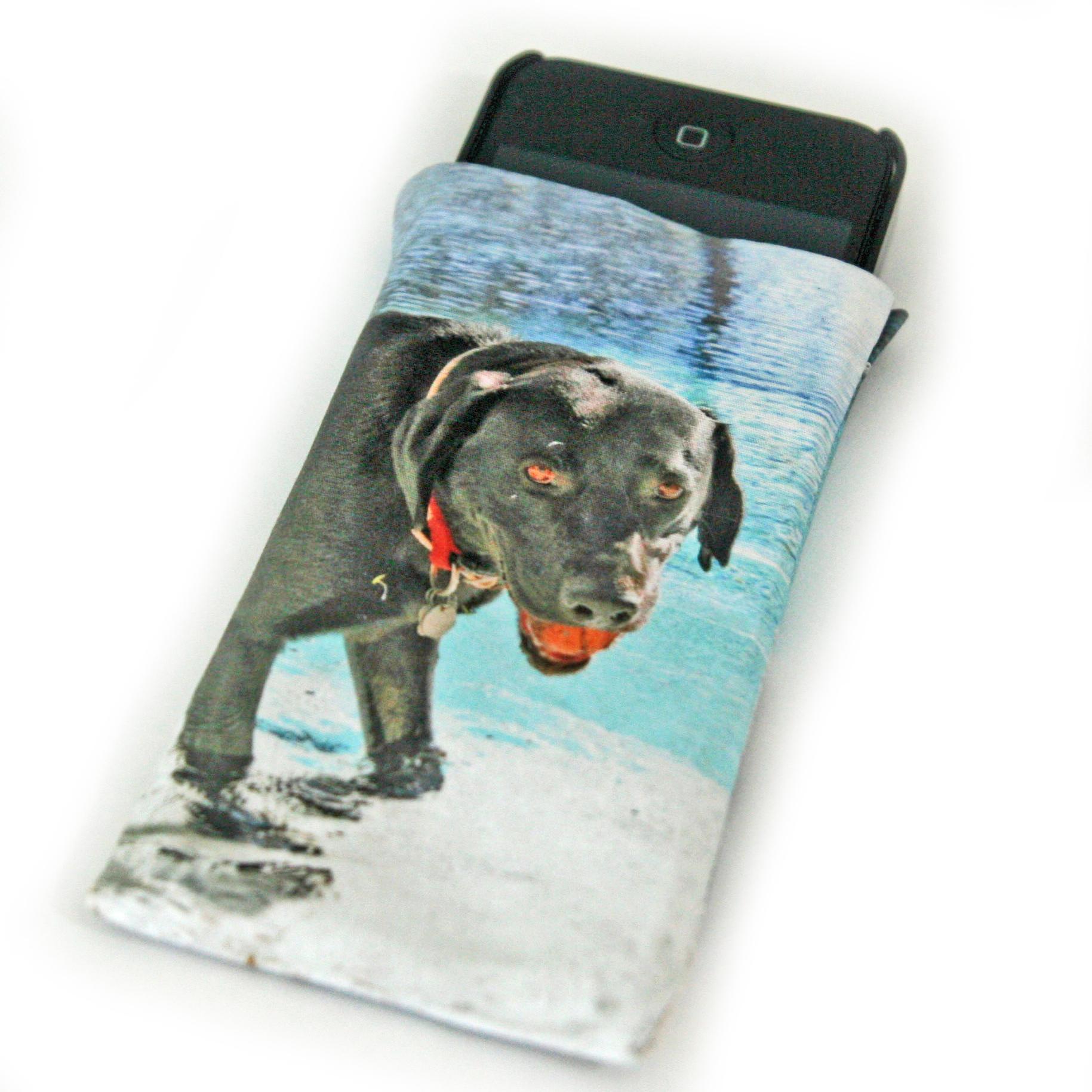 funda para móvil en tela con foto de mi perro