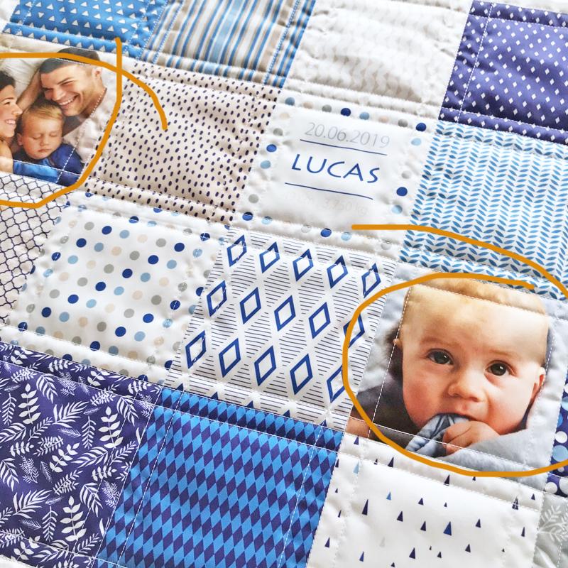 couverture en patchwork pour bébé personnalisé de photos