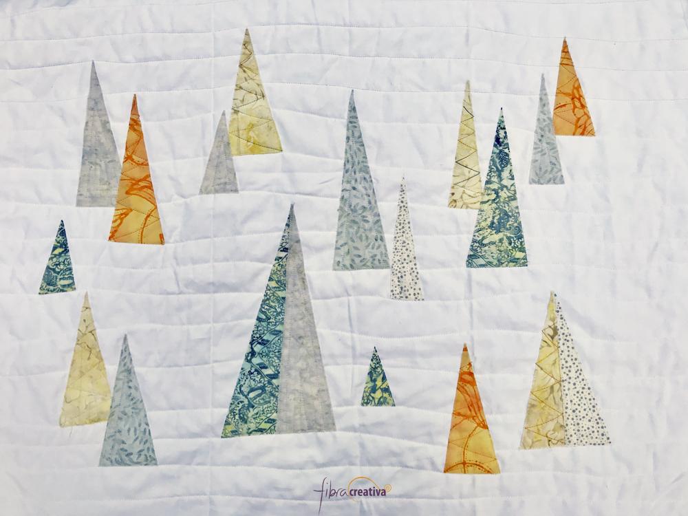 cojín selva de árboles de Navidad patchwork moderno gris naranja blanco