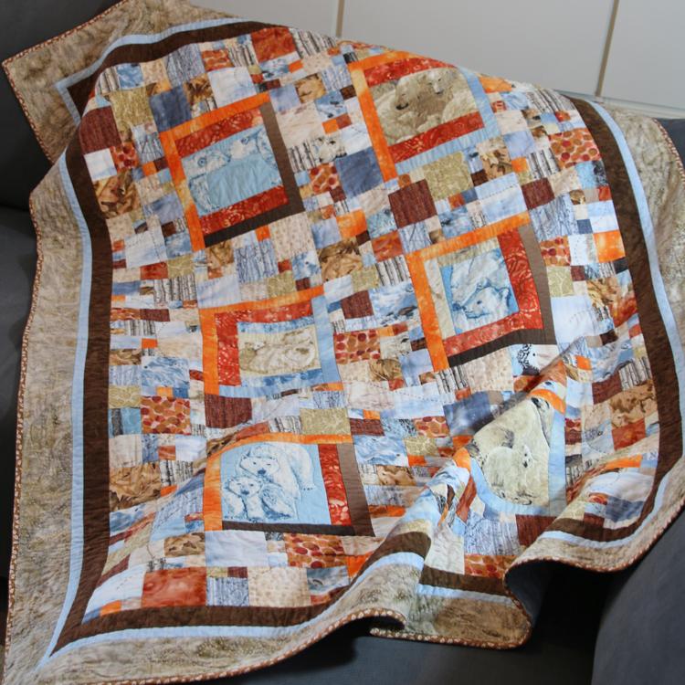 quilt de patchwork invernal osos polares azul marrón beige naranja