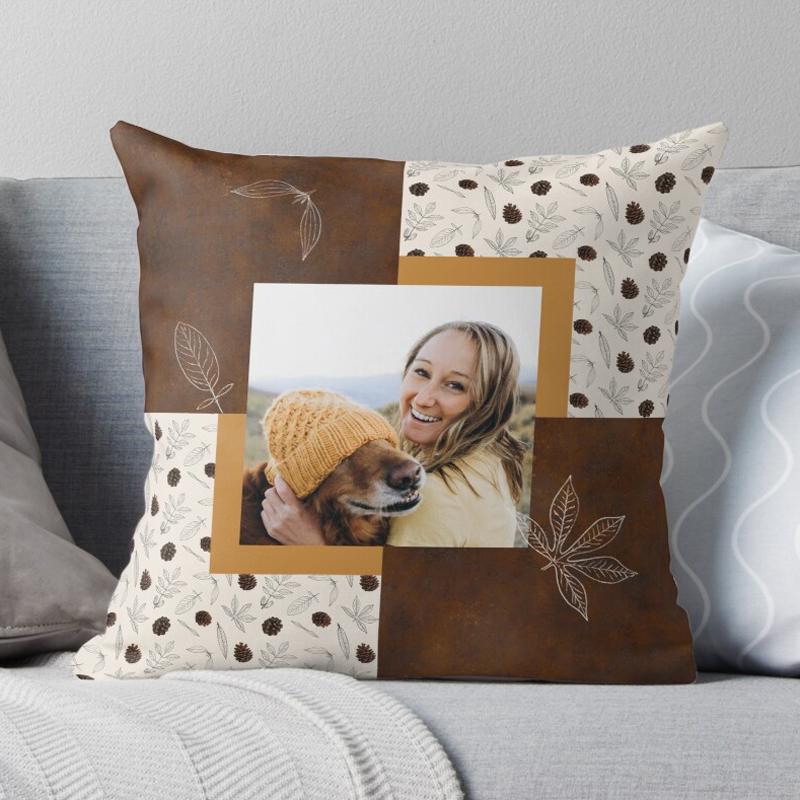 cojín de otoño en patchwork personalizado con foto